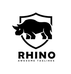 rhino with shield logo rhinoceros shield l vector image