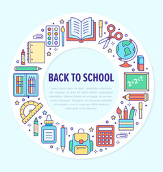 school supplies circle template with line icons vector image