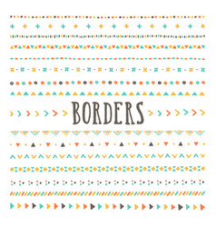 set hand drawn borders and dividers vector image