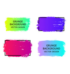 Set of trendy gradient grunge paint background vector