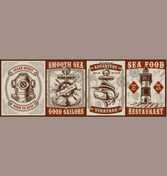 set vintage posters on theme nautical vector image