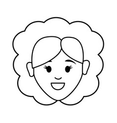 Silhouette happy face woman with hairstyle vector