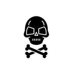 skull with bones black icon sign on vector image