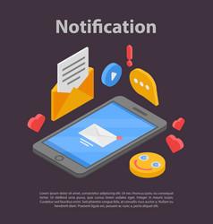 Smartphone notification concept banner isometric vector
