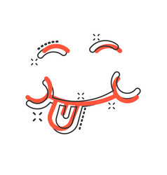 Smile face icon in comic style tongue emoticon vector