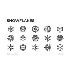 snowflakes icons for winter christmas and vector image