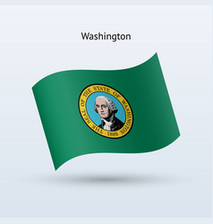 State of washington flag waving form vector