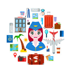 stewardess and travel objects vector image