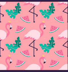 Summer tropical pattern with flamingo watermelons vector
