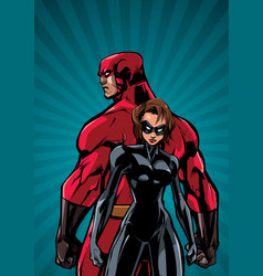superhero couple ray light vertical background vector image