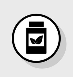 supplements container sign flat black vector image