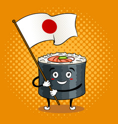 sushi roll with japanese sword pop art vector image