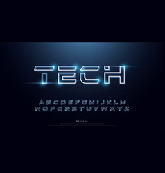 technology abstract neon font and alphabet techno vector image