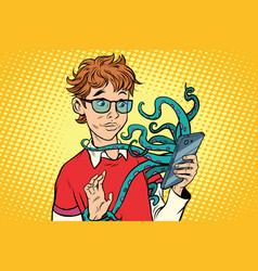 Teen and octopus in the smartphone danger online vector