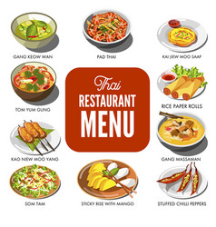 thai cuisine food traditional dish icons vector image