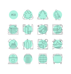 Thin line sorted garbage and garbage cans vector