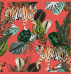 Tiger in jungle living coral background vector
