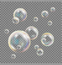 transparent soap bubbles colorful falling vector image