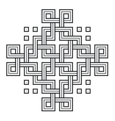 viking decoration knot - chain squares cross vector image