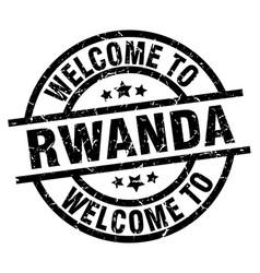 Welcome to rwanda black stamp vector