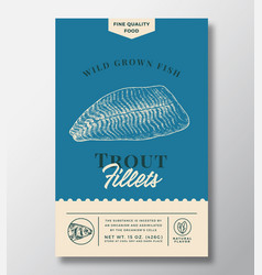 Wild trout abstract packaging design vector