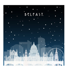 winter night in belfast night city in flat style vector image