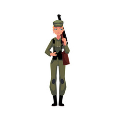 woman hunter in khaki camouflage military style vector image