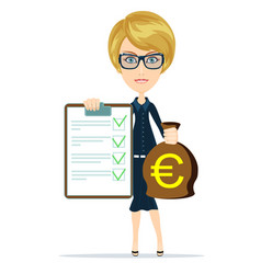Woman in suit insurance and money vector