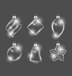 xmas glass toys new year balls stars and gifts vector image