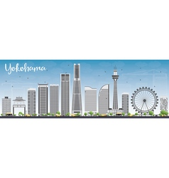 Yokohama Skyline with Gray Buildings vector image