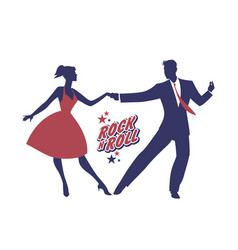 Young couple wearing 50s clothes dancing rock and vector