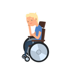 Young disabled man sitting in wheelchair vector