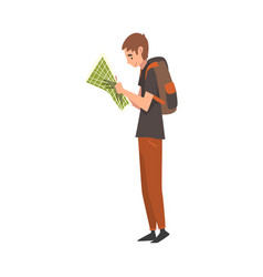 young man with backpack holding road map planning vector image
