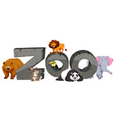 Zoo sign and many animals vector