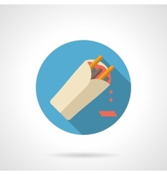 Burrito flat color design icon vector image