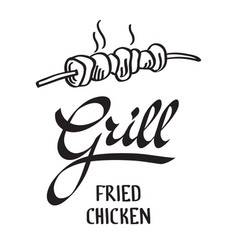 grill typographical design concept vector image