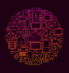internet of things line icon concept vector image