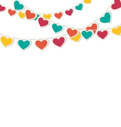 Multicolored hearts buntings garlands isolated on vector image