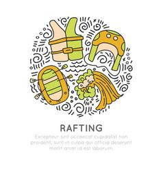 rafting sketch with rafting boat and vector image