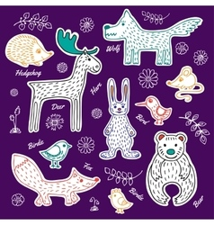 Set forest animals and birds vector