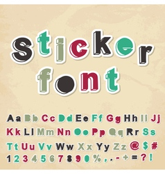 Sticker font vector image vector image