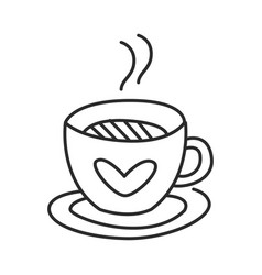 tea or coffee cup doodle hand drawn line vector image vector image