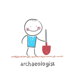 archaeologist holding a shovel vector image