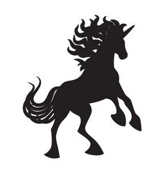 black cute silhouette unicorn vector image vector image
