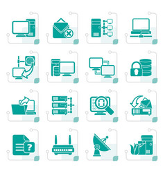 stylized computer network and internet icons vector image vector image