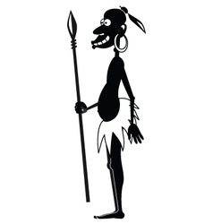 Aboriginal with spear BW vector image