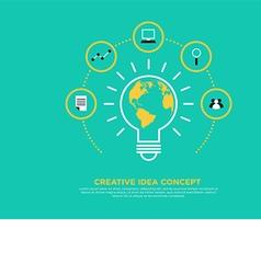 Creative idea concept light bulb and globe vector