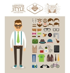 Hipster man Accessories hairstyles and labels vector image vector image