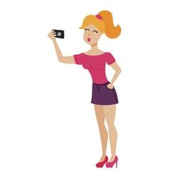 selfie girl vector image vector image