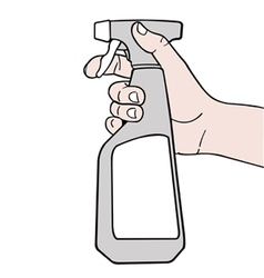 hand holding spray with white label vector image vector image